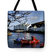 Boats Moored At A Riverbank With Tote Bag