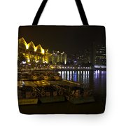 Boats Moored To The Side At Clarke Quay In Singapore Tote Bag