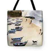 Boats On The Beach Tote Bag by Lucy Willis
