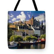 Boats On Waterfront Tote Bag