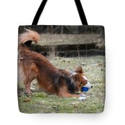Border Collie Playing With Ball Tote Bag