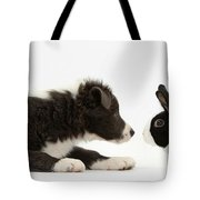 Border Collie Puppy And Rabbit Tote Bag