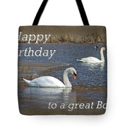 Boss Birthday Card - Mute Swans On Winter Pond Tote Bag