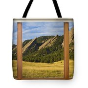 Boulder Colorado Flatirons Window Scenic View Tote Bag