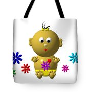 Bouncing Baby Girl With 7 Flowers Tote Bag