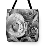 Bouquet Of Roses With Water Drops In Black And White Tote Bag