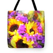 Bouquet Of Sunflowers And Purple Statice Tote Bag