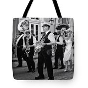 Bourbon Street Second Line Wedding New Orleans In Black And White Tote Bag