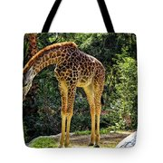 Bowing Giraffe Tote Bag by Mariola Bitner