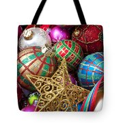 Box Of Christmas Ornaments With Star Tote Bag by Garry Gay