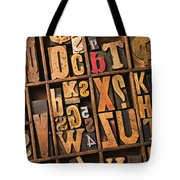 Box Of Old Wooden Type Setting Blocks Tote Bag