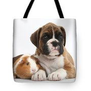 Boxer Puppy And Guinea Pig Tote Bag