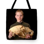 Boy Holding Kodiak Bear Skull Tote Bag