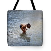 Boy Playing In The Pond Tote Bag