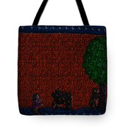 Boy Playing With The Bears Under The Apple Tree Tote Bag