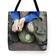 Boy Sitting On Ball - Torn Trousers Tote Bag