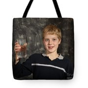 Boy With A Hot Glass Of Water Tote Bag