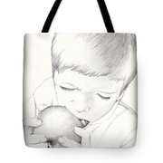 Boy With Apple Tote Bag