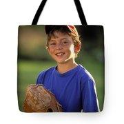 Boy With Baseball Glove Tote Bag