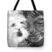 Boy With Pet Dog Tote Bag