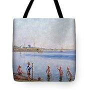 Boys At Water's Edge Tote Bag by Johan Rohde