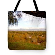 Branch Over River Bed Tote Bag