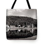 Brant Lake Reflections Black And White Tote Bag