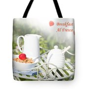 Breakfast Al Fresco Tote Bag by Amanda Elwell