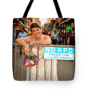 Bride And The Barricade On Bourbon Street Tote Bag