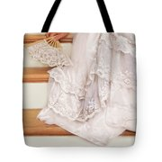 Bride Sitting On Stairs With Lace Fan Tote Bag by Jill Battaglia