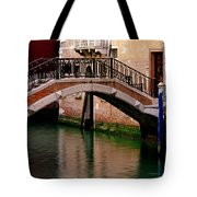 Bridge And Striped Poles Over A Canal In Venice Tote Bag