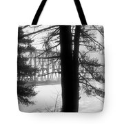 Bridge In The Fog Bw Tote Bag