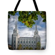 Brigham City Temple Leaves Arch Tote Bag