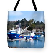 Bright Blue Fishing Ship Tote Bag