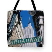 Broadway Sign And Empire State Building Tote Bag by Axiom Photographic