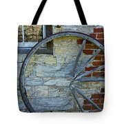 Broken Wagon Wheel Against The Wall Tote Bag