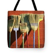 Brooms Leaning Against Wall Tote Bag