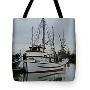 Brown And White Fish Boat Tote Bag