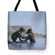 Brown Bear Cubs Playing On A Rocky Tote Bag