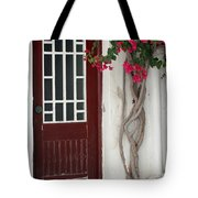 Brown Door In Greece Tote Bag