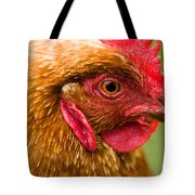 Brown Head Of A Hen On A Lawn Tote Bag
