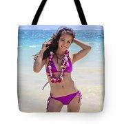 Brunette Model On Beach Tote Bag by Tomas del Amo