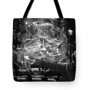 Bubble Blower Of Central Aprk In Black And White Tote Bag