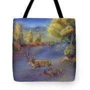 Buck And Doe Crossing River Tote Bag