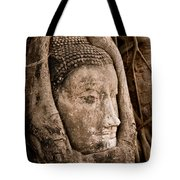 Buddha Head Strangled By The Roots  Tote Bag