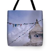 Buddhist Shrine In The Himalayas Tote Bag