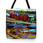 Buffalo New York Aerial View Neon Effect Tote Bag