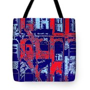 Building Facade In Blue And Red Tote Bag