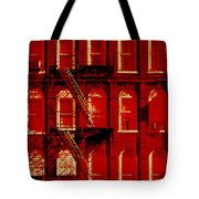 Building Facade In Red And White Tote Bag