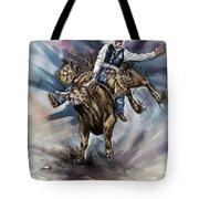 Bull Bucking His Rider Tote Bag